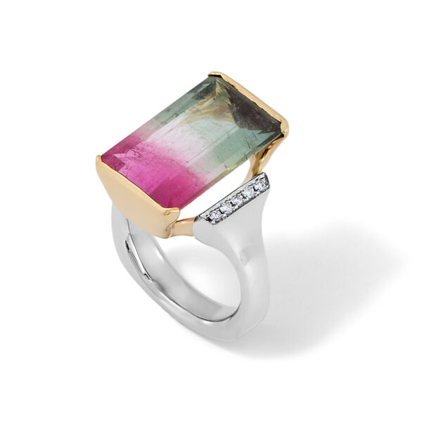 Watermelon Tourmaline and Diamond Ring