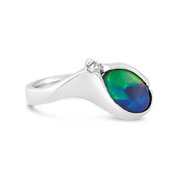 Black Opal and Diamond Ring
