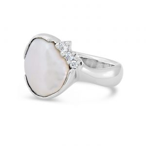 Keshi Pearl and Diamond Ring