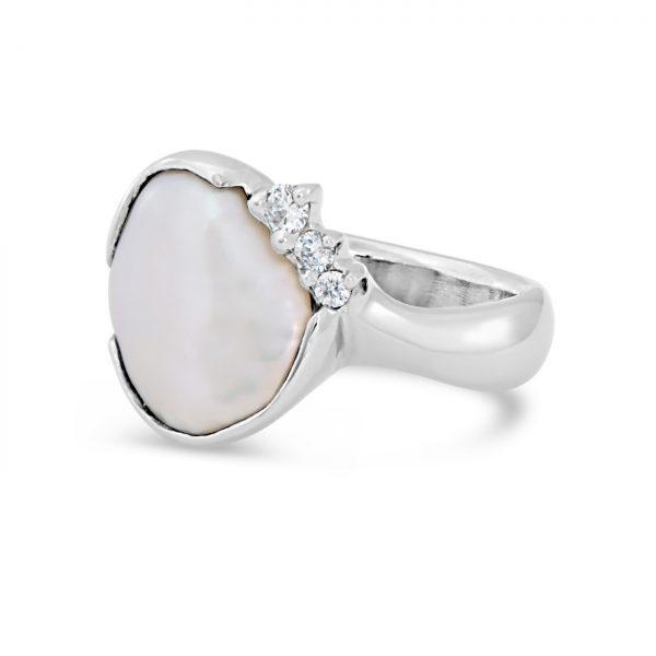 Keshi Pearl and Diamond Ring