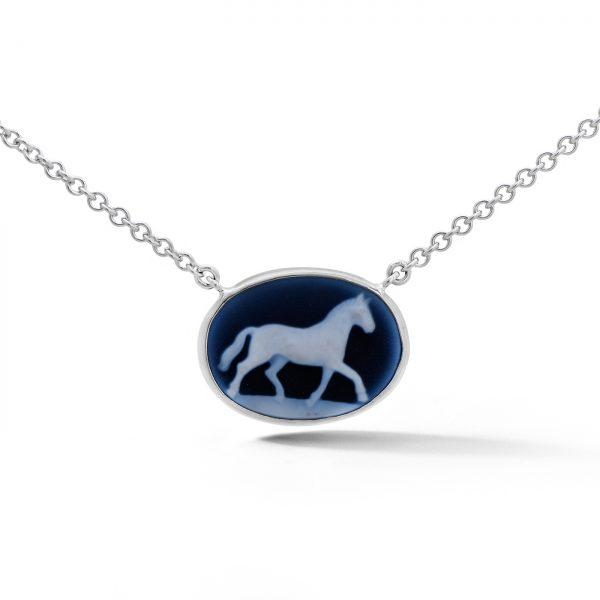 Oval Horse Cameo Pendant