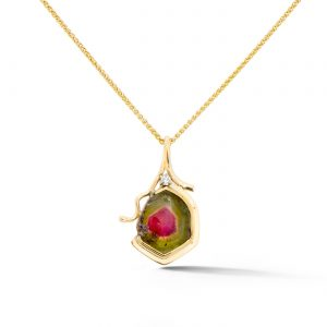 Watermelon Tourmaline and Diamond Pendant