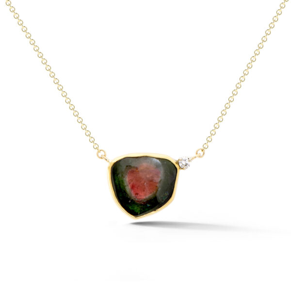 Watermelon Tourmaline Split Chain Pendant