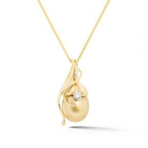 Golden Pearl and Diamond Pendant