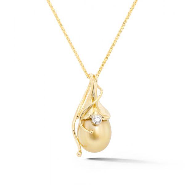 Golden Pearl and Diamond Pendant