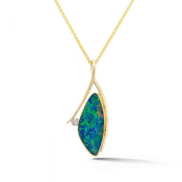 Opal Doublet and Diamond Pendant