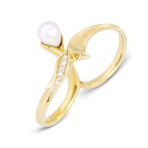 Pearl Double Finger Ring