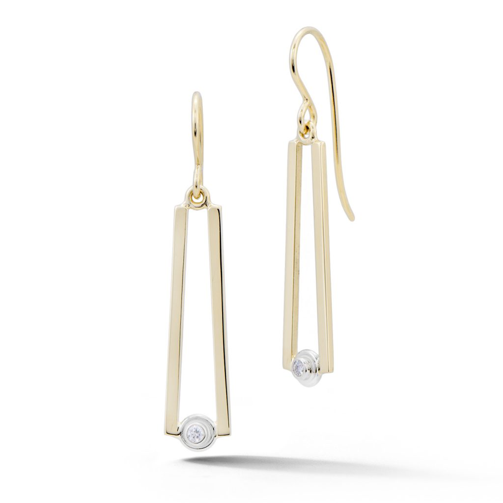 Elongated Gold and Diamond Earrings
