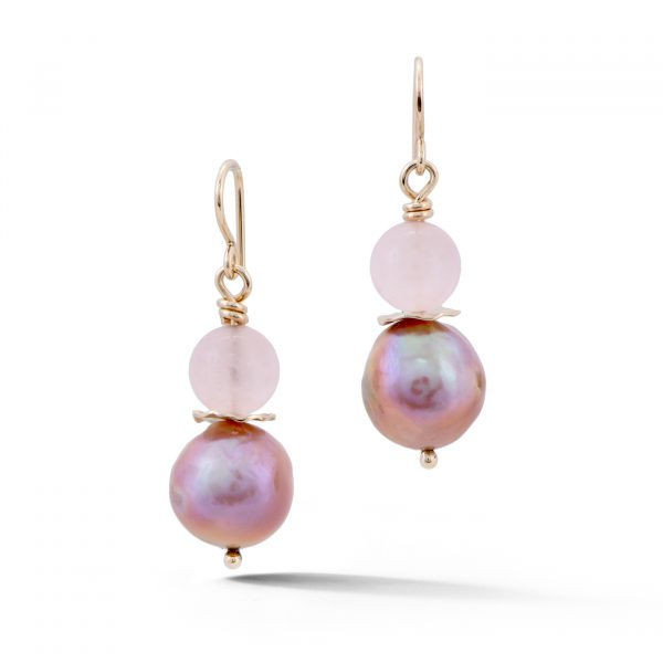 Pearl and Rose Quartz Earrings