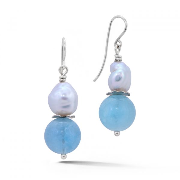 Aquamarine and pearl earrings