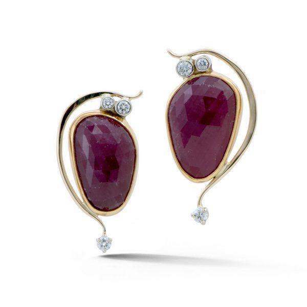 Rose cut ruby earrings