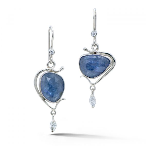 Rose cut tanzanite earrings