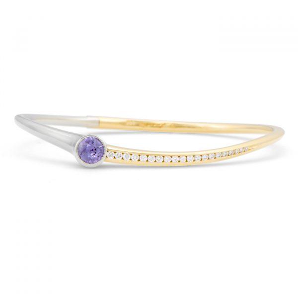 Purple sapphire and diamond bracelet