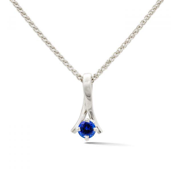 Sapphire pendant in 14k white gold