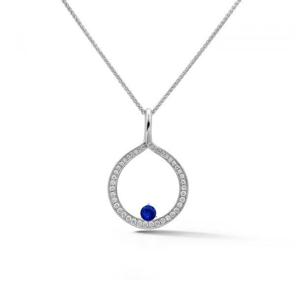 Diamond Circle Pendant in white gold with a sapphire