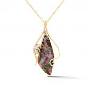 Boulder Opal Sapphire Pendant