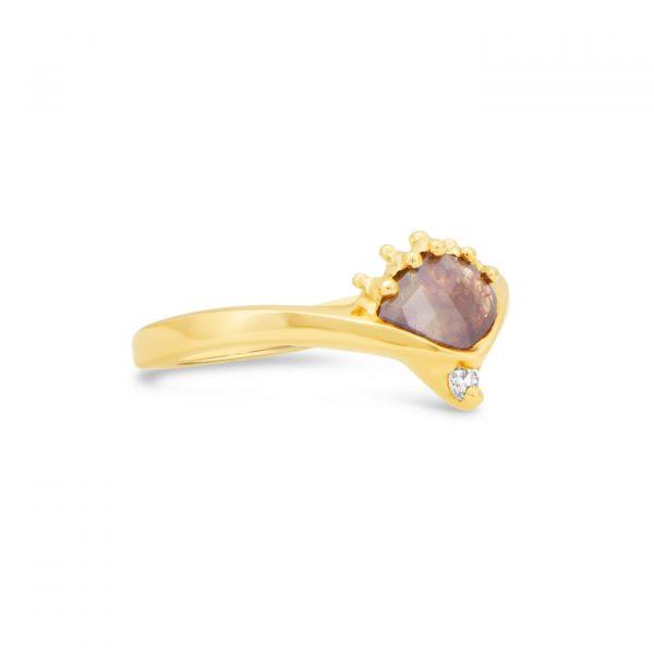 Raw Diamond Gold Ring