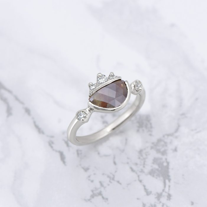 Raw Diamond Ring in white gold