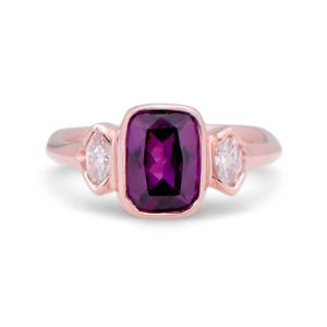 Purple Garnet and Diamond Ring