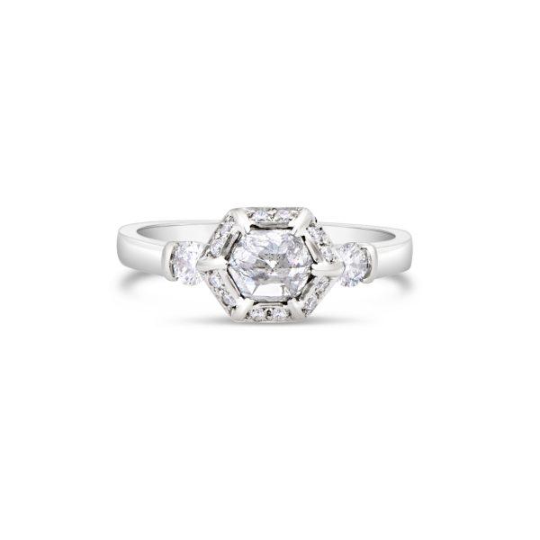 Salt and pepper diamond ring in white gold