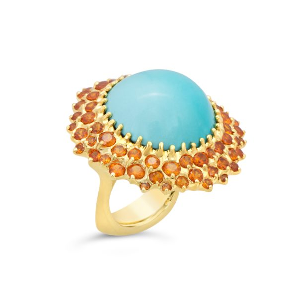 Persian Turquoise and Garnet Ring