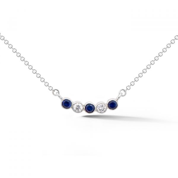 Diamond and Sapphire 5 stone necklace