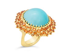 Turquoise and Orange Garnet Ring