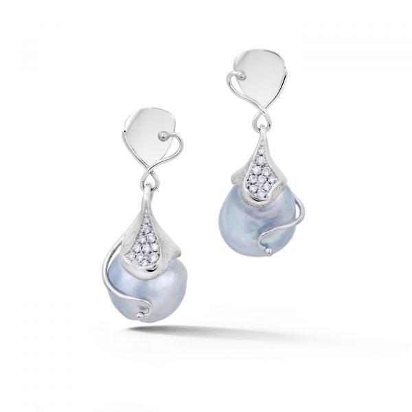 Silver Tahitian Pearl Earrings