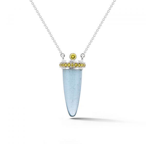 Aquamarine pendant with yellow diamonds