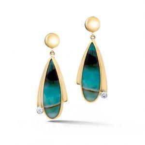 Opal Petrified Wood Earrings in yellow gold