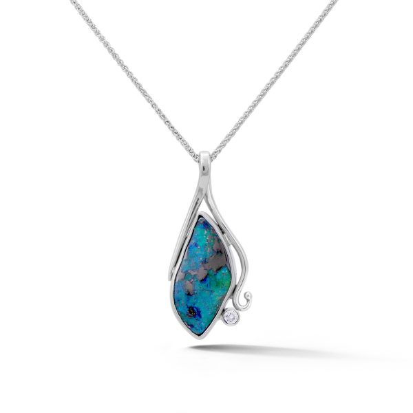 White gold boulder opal and diamond pendant