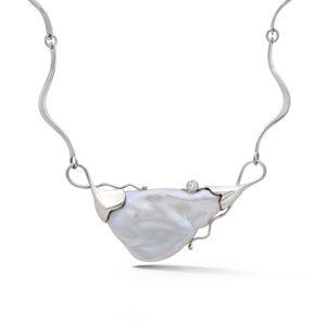 Keshi Pearl and Diamond Pendant