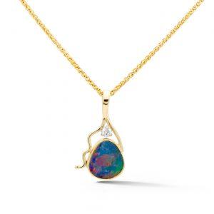 Opal double and diamond pendant
