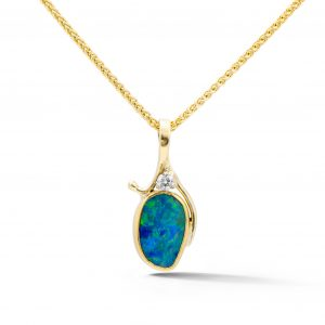 Oval opal double pendant