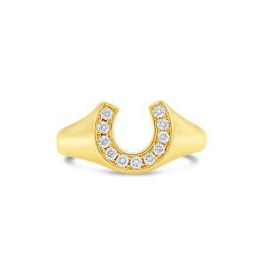 Diamond horseshoe ring in yellow gold